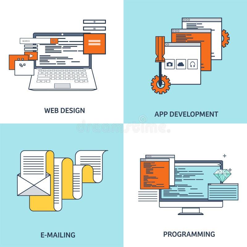 Vector illustratie Vlakke achtergrond Het coderen, programmering SEO De motoroptimalisering van het onderzoek App ontwikkeling, v royalty-vrije illustratie