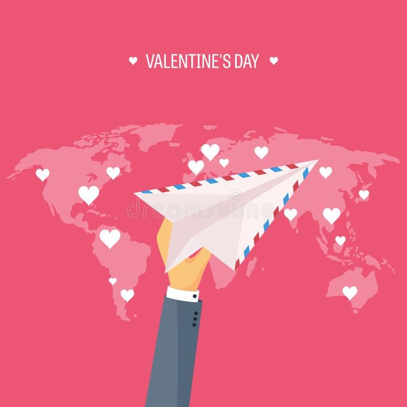 Vector illustratie Vlakke achtergrond met envelop, document vliegtuig Liefde en harten Rood nam toe Ben mijn Valentijnskaart 14 vector illustratie