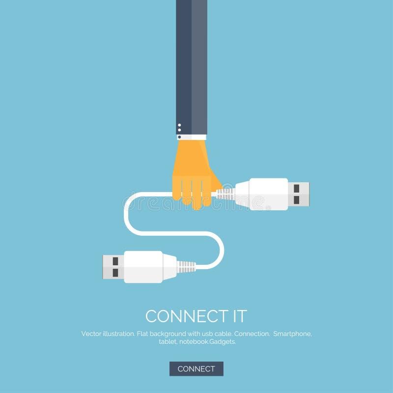 Vector illustratie Vlakke achtergrond met hand, usb kabel aansluting Internet, globale communicatie conceptenachtergrond vector illustratie