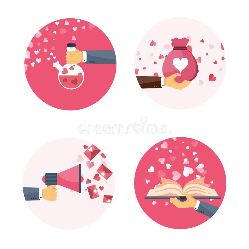 Vector illustratie Vlakke achtergrond met hand, zak, boek, luidspreker, drankje Liefde en harten Rood nam toe Mijn ben vector illustratie