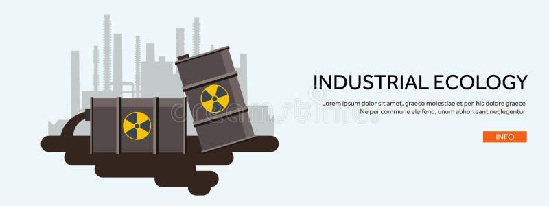 Vector illustratie Vlakke industriële achtergrond De brandstof van de kernenergieinstallatie De bescherming van het milieu Ecopro stock illustratie
