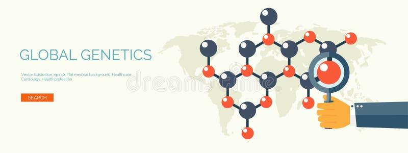 Vector illustratie Vlakke medische achtergrond Gezondheidszorgeerste hulp, onderzoekcardiologie Medicinestudy chemisch stock illustratie