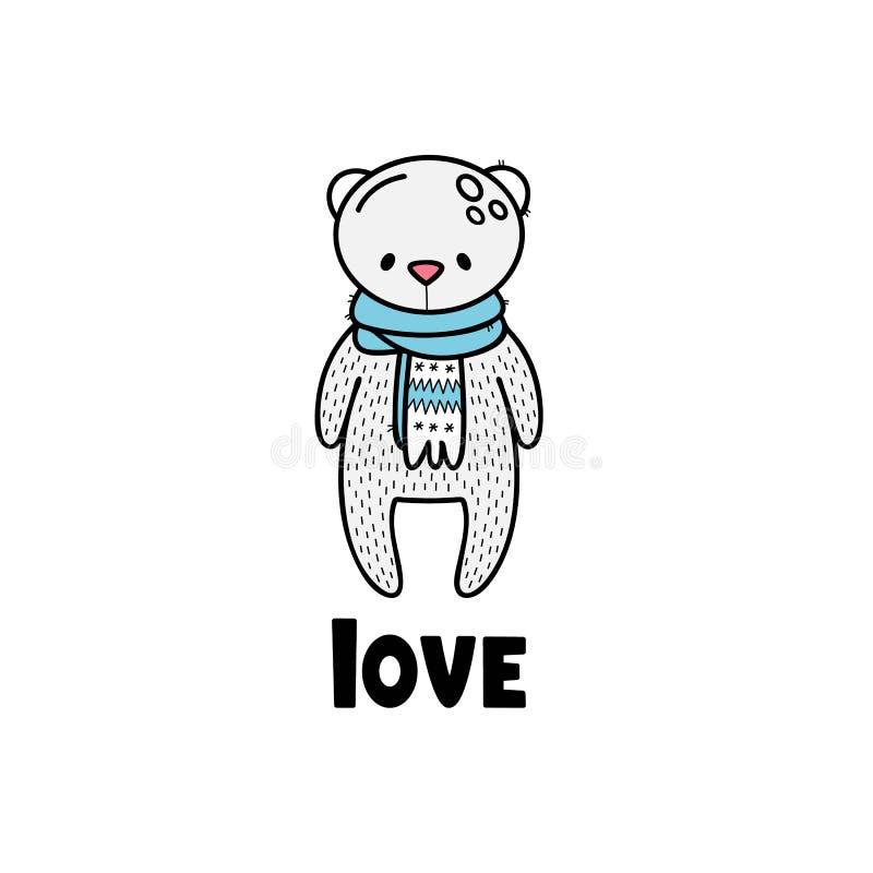 Vector illustratie voor de Dag van Valentijnskaarten Het leuke wit draagt in een sjaal royalty-vrije illustratie