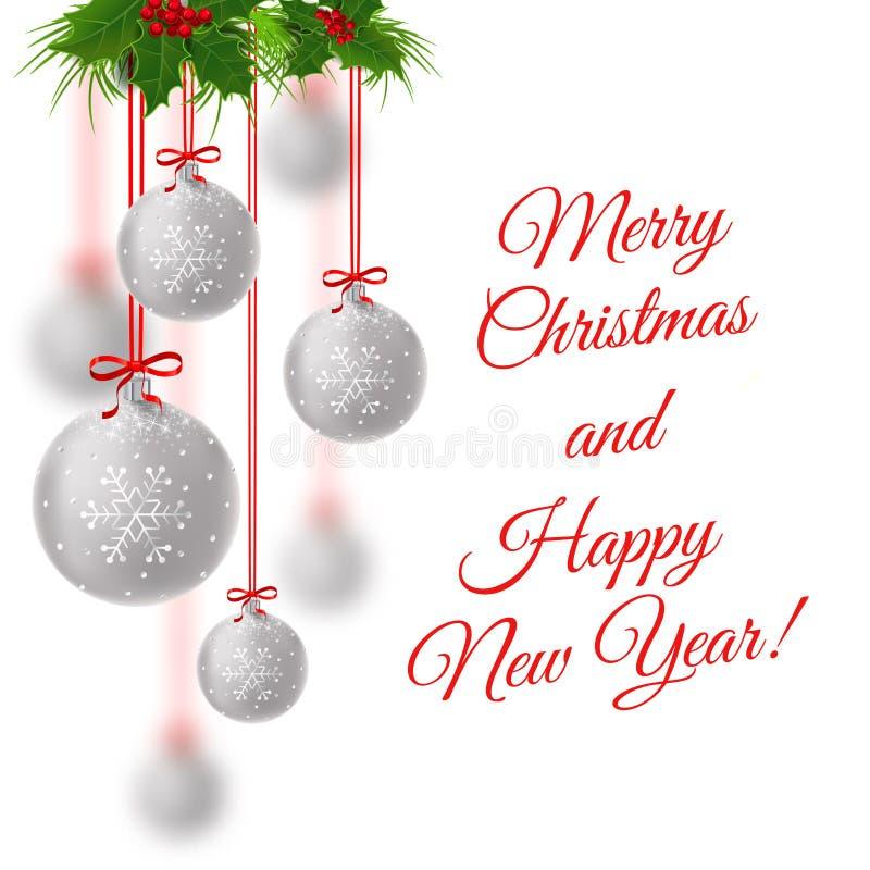 Vector illustratie Vrolijke Kerstmis royalty-vrije stock afbeeldingen