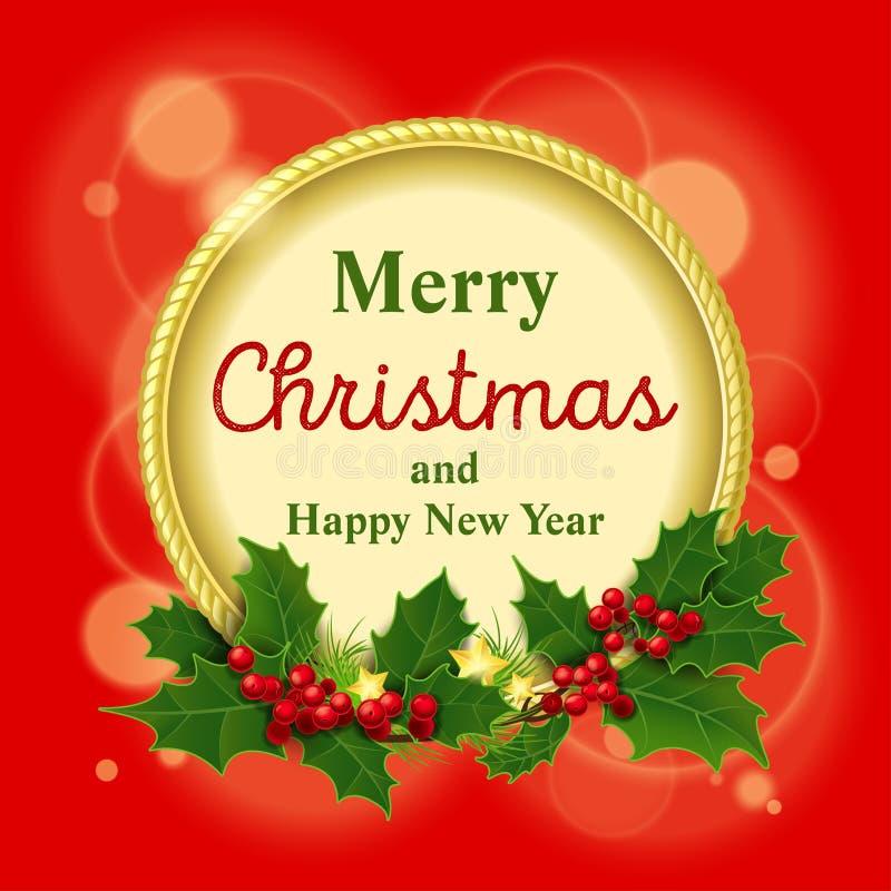 Vector illustratie Vrolijke Kerstmis en Gelukkig royalty-vrije stock foto's