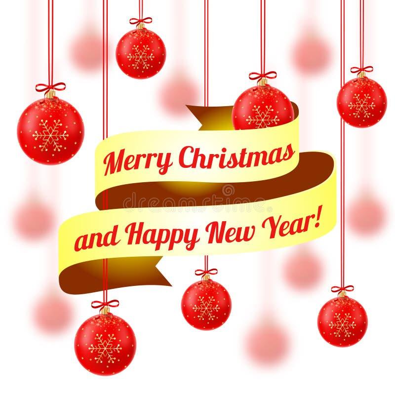 Vector illustratie Vrolijke Kerstmis en Gelukkig Nieuwjaar stock foto's