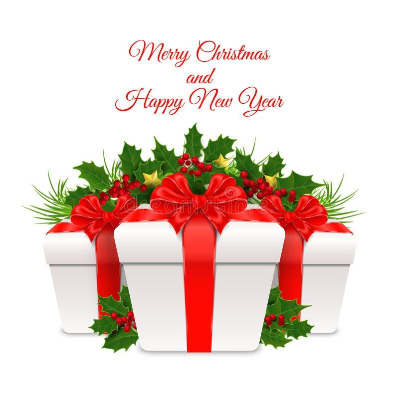 Vector illustratie Vrolijke Kerstmis en Gelukkig Nieuwjaar stock foto