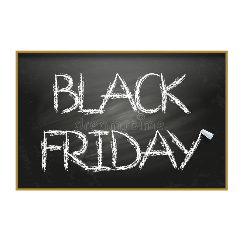 Vector illustratie Zwarte vrijdag Zwarte schoolraad met l royalty-vrije stock afbeeldingen