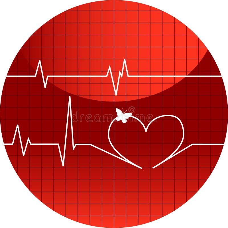 Vector illustratiecardiogram van liefde stock illustratie