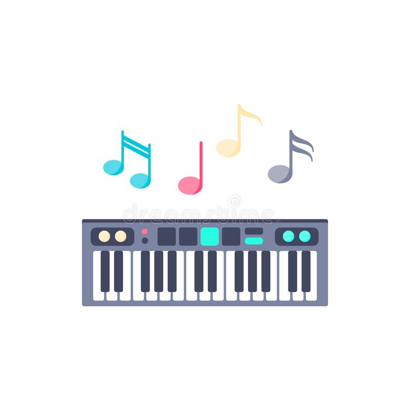 Piano with notes icon stock illustration