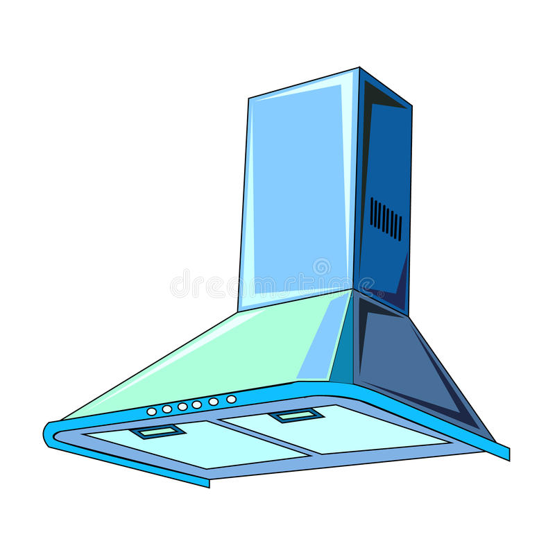 The vector illustration of the еlectric cupola сooker hood. To create an internet shop icon or a kitchen book about home electric appliances or a vector illustration
