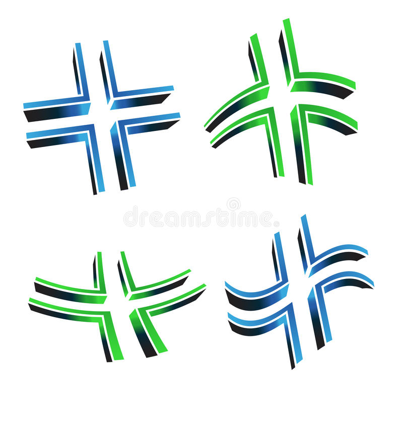 Vector Illustration Of 3D Cross Logo Stock Photography