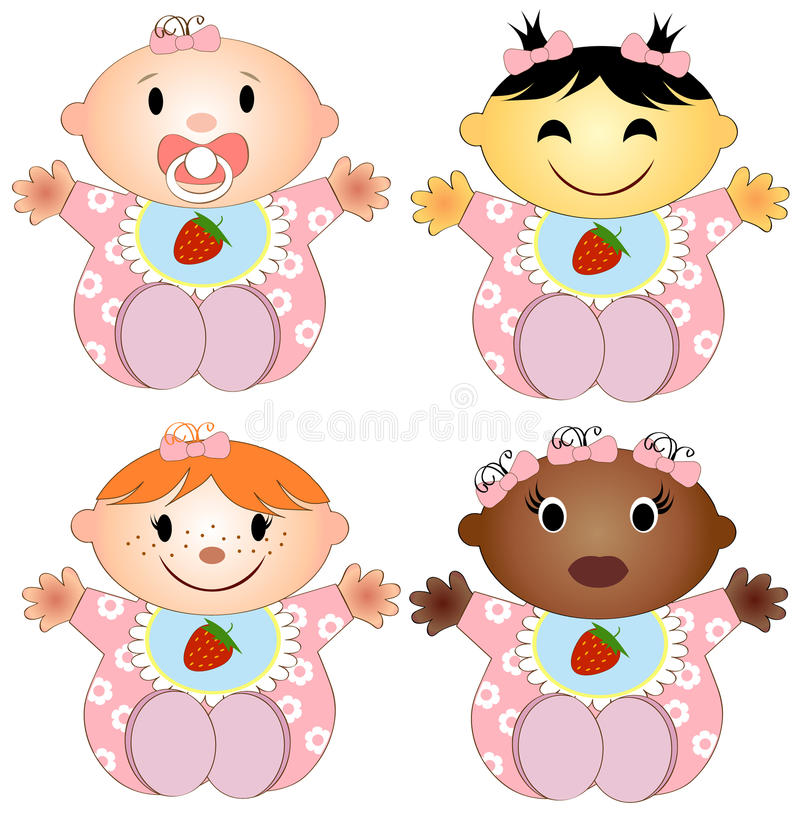 Free Vector Illustration 4 Babies Girl. Four Children Stock Images - 34823454