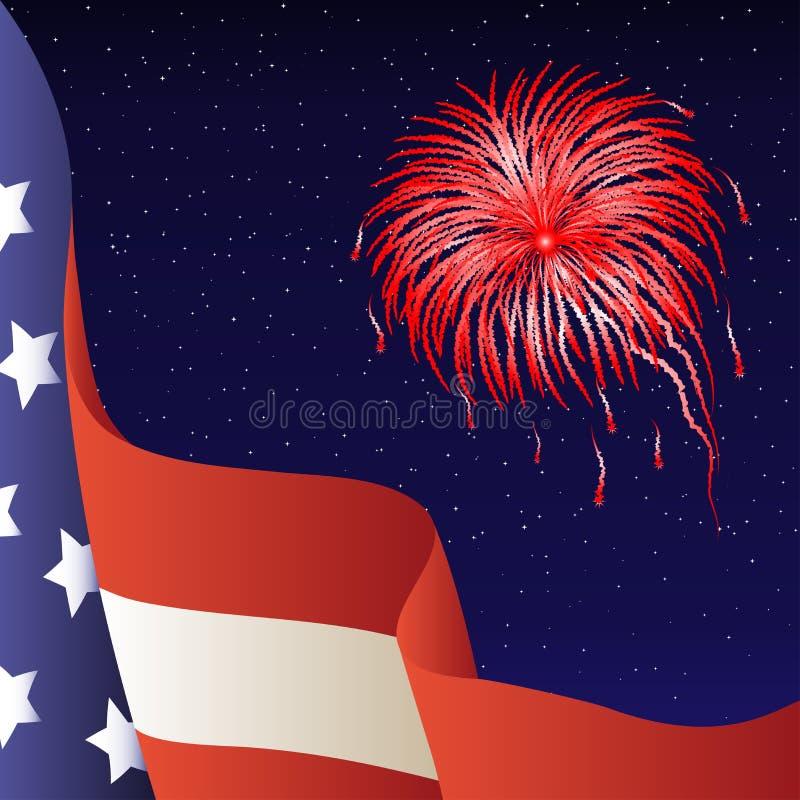Vector illustration - 4th of July. American flag. Vector illustration - Happy 4th of July. American flag, firework. Background stock illustration