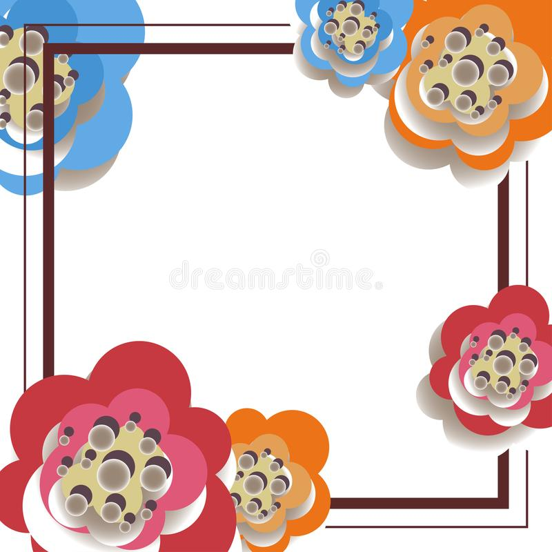Vector illustration of abstract background out of the frame and paper flowers royalty free stock images