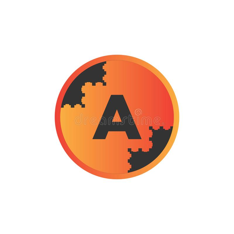 vector illustration abstract background puzzle circle and initial letter a icon logo modern design stock illustration