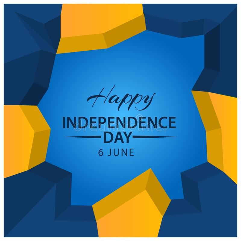 Vector illustration abstract background Sweden Independence Day of June 6. Designs for posters, backgrounds, cards, banners, stick vector illustration