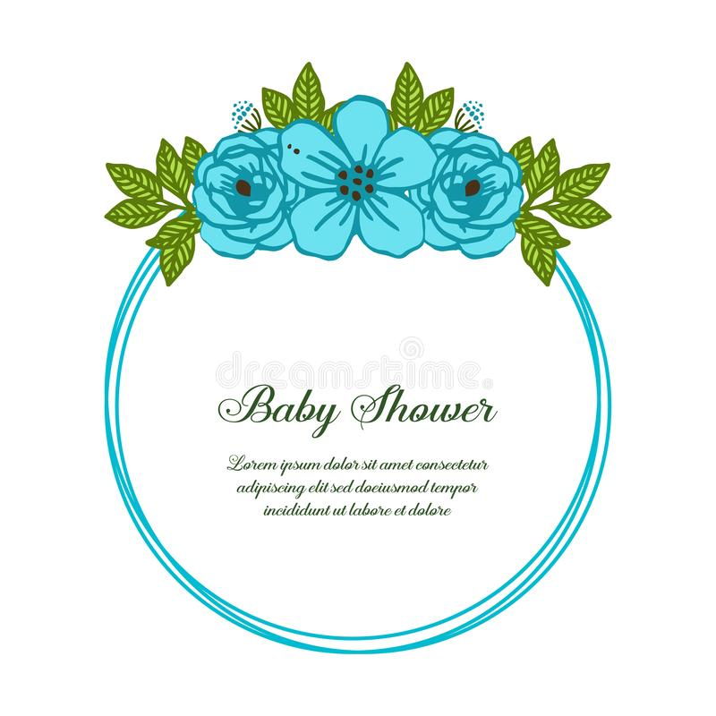 Vector illustration abstract of blue rose wreath frame for template baby shower stock image