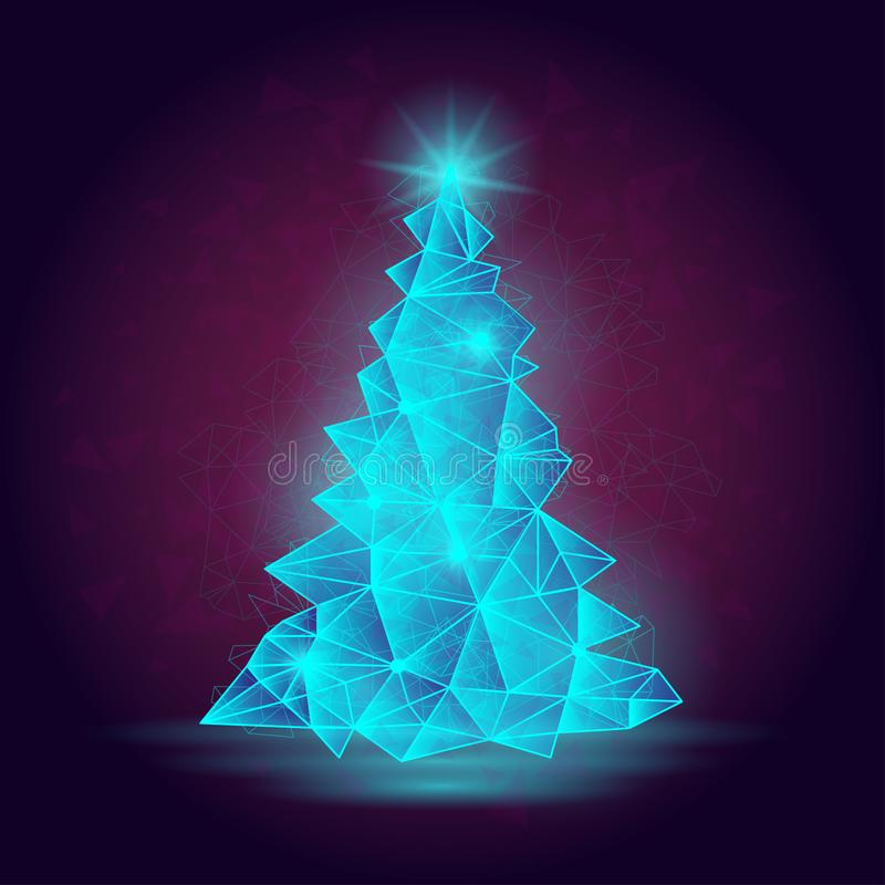 Vector illustration of abstract Christmas tree. Picture suitable for winter season poster or banner. royalty free illustration