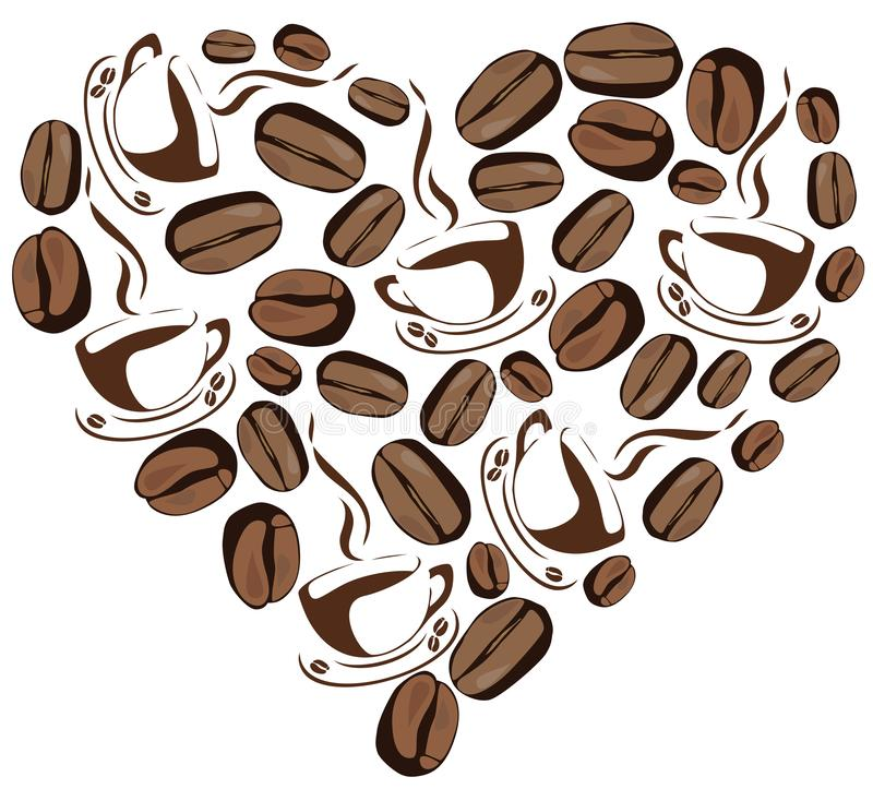 Vector Abstract Illustration of Coffee Heart. Vector illustration of an abstract coffee heart, coffee cups, coffee beans stock illustration