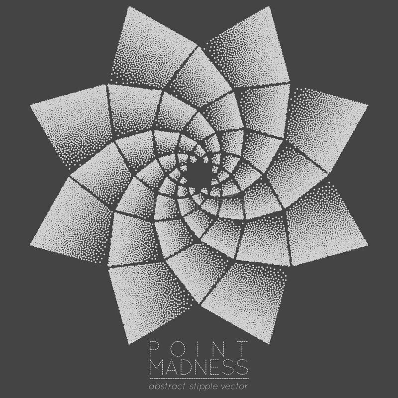 Vector illustration of abstract dotted symbol phyllotaxis. Sacred geometry sign made in stippling technique. I stock illustration