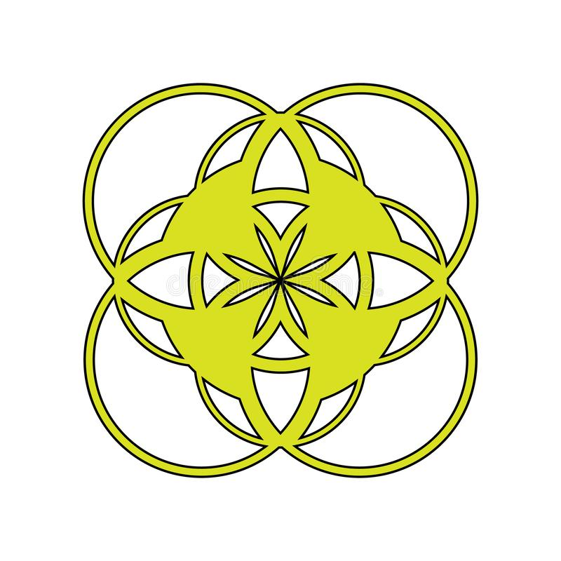Vector illustration an abstract emblem, the logo, a symbol consisting of geometrical figures of yellow color with a black contour. On a white background royalty free illustration