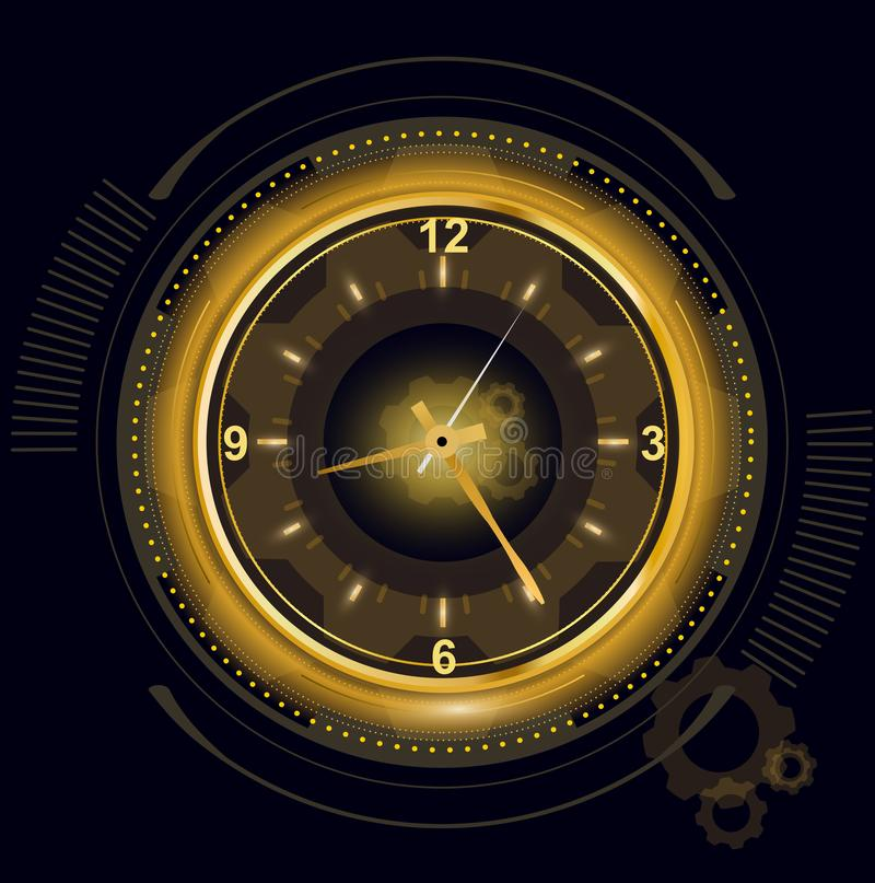 Vector illustration of abstract futuristic digital clock, technology background with golden light number timer, time royalty free illustration