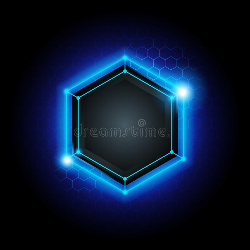 Vector illustration abstract modern metal cyber technology background with poly hexagon pattern and blue light vector illustration