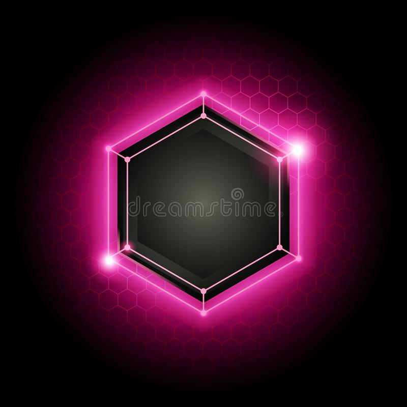 Vector illustration abstract modern metal cyber technology background with poly hexagon pattern and green light royalty free illustration