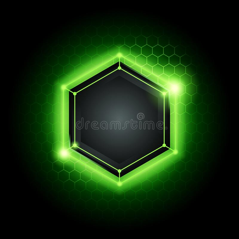Vector illustration abstract modern metal cyber technology background with poly hexagon pattern and green light vector illustration