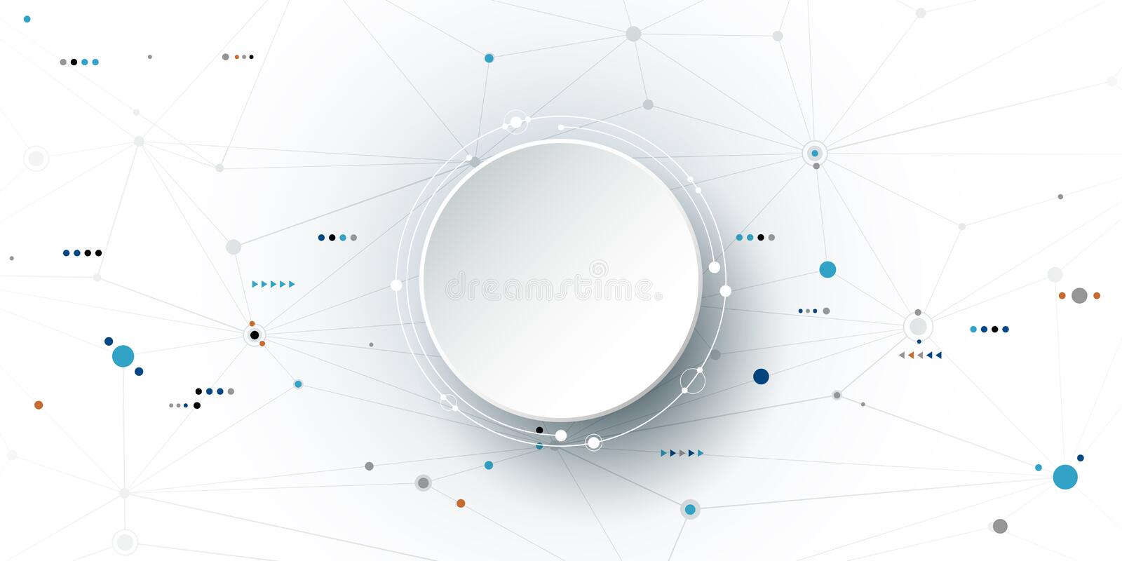 Vector illustration abstract molecules and communication, social media technology concept stock illustration