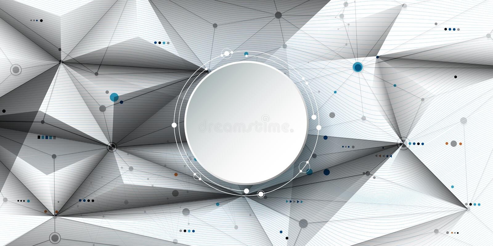 Vector illustration abstract molecules and communication, social media technology concept with 3D paper label circles design royalty free illustration