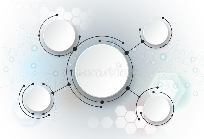 Vector illustration abstract molecules and global social media communication technology stock illustration