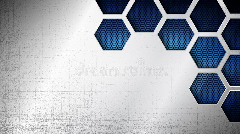 Abstract metal texture as a background. Vector illustration of abstract stainless steel metal panel with grunge overlay metallic texture and hexagonal grid vector illustration