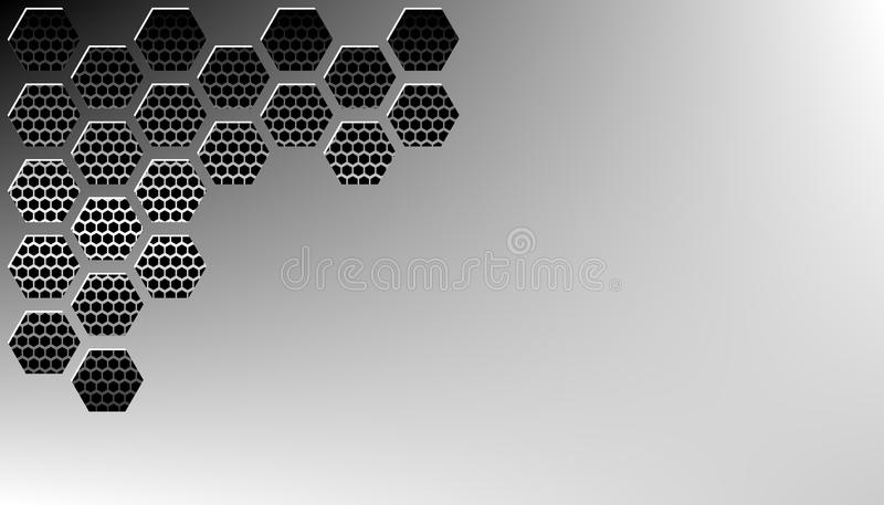Vector illustration of abstract stainless steel metal panel with grunge overlay metallic texture and hexagonal grid pattern over b royalty free illustration