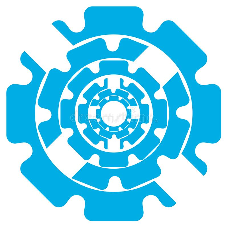 Vector Illustration Abstract Symbol Of Blue Color Gears On A White