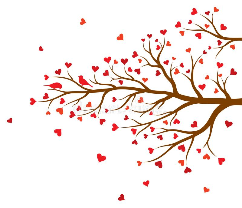 Vector illustration of abstract Valentine tree branch with hearts and couple of birds in color. On white background royalty free illustration