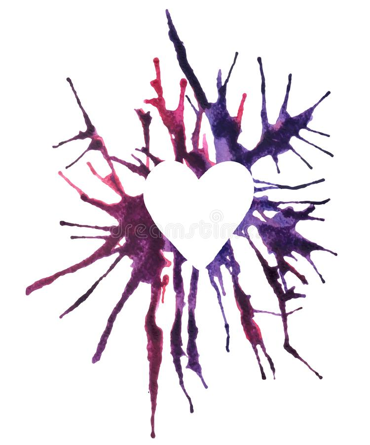 Vector Abstract watercolor drawing. White heart in the center. vector illustration