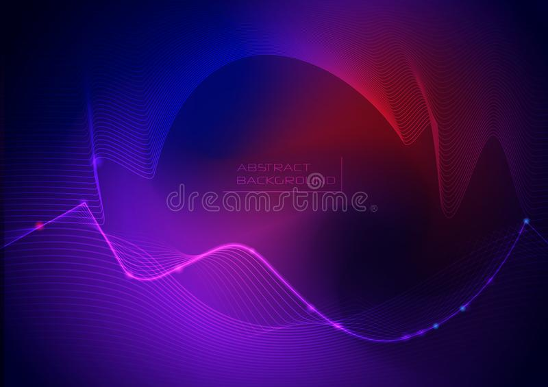 Vector illustration abstract wavy, wave, line and blurred gradient mesh in bright color background. Dynamic minimal wave line comp royalty free illustration