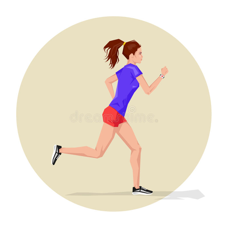Vector illustration of Active sporty young running woman athlete. With smart watch. Sport health fitness loss weight cardio training workout and wellness royalty free illustration