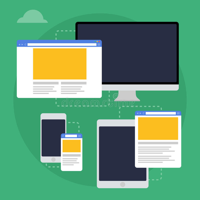 Vector illustration of adaptive web design on different devices stock illustration
