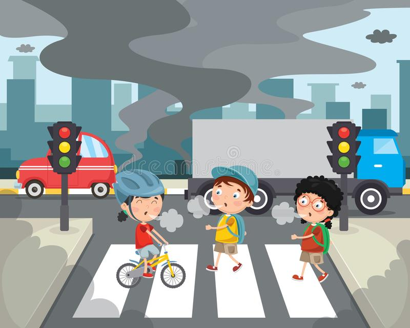 Download Vector Illustration Of Air Pollution Stock Vector - Illustration of accident, crosswalk: 119990249