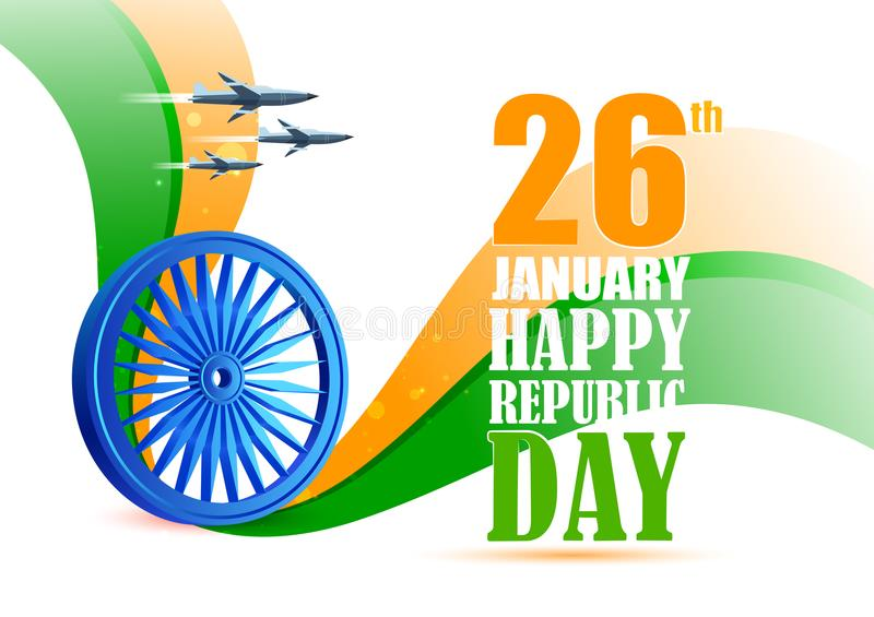 Airplane flying over Ashoka Chakra on tricolor background for 26th January Happy Republic Day of India vector illustration
