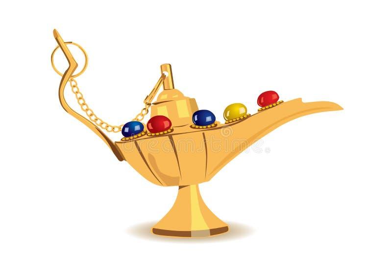 Vector illustration of aladdin's magic lamp. Detailed illustration of aladdin's magic lamp with pearls royalty free illustration