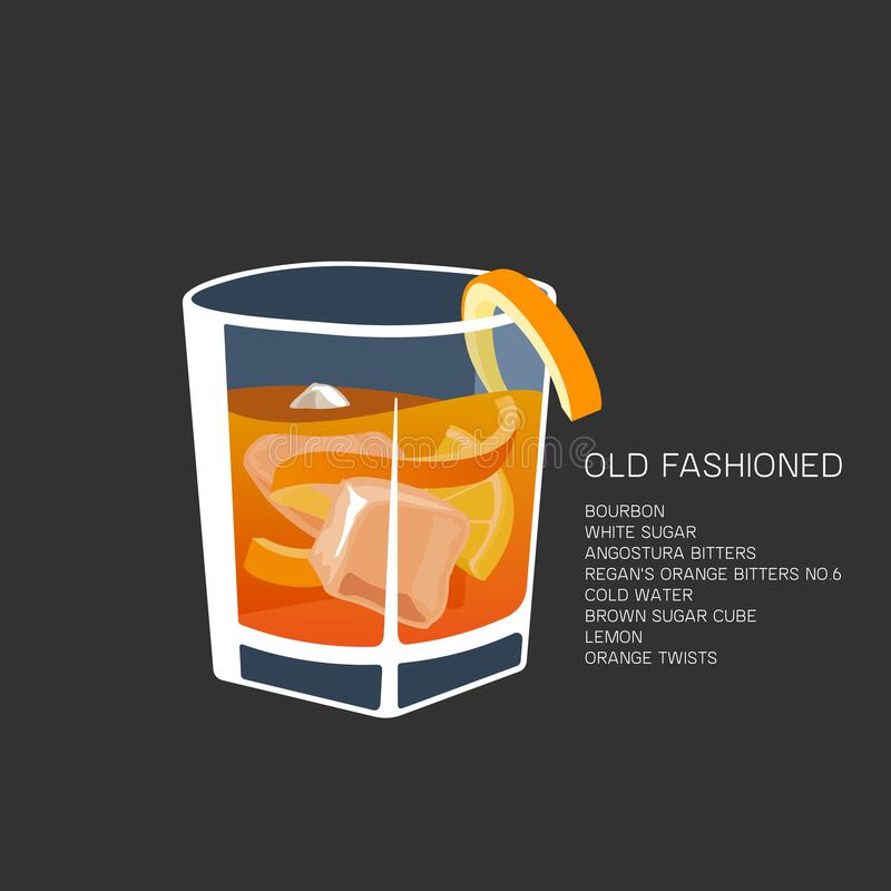 Free Vector Illustration Alcohol Cocktail Old Fashioned Glass Bourbon Royalty Free Stock Photos - 182861918