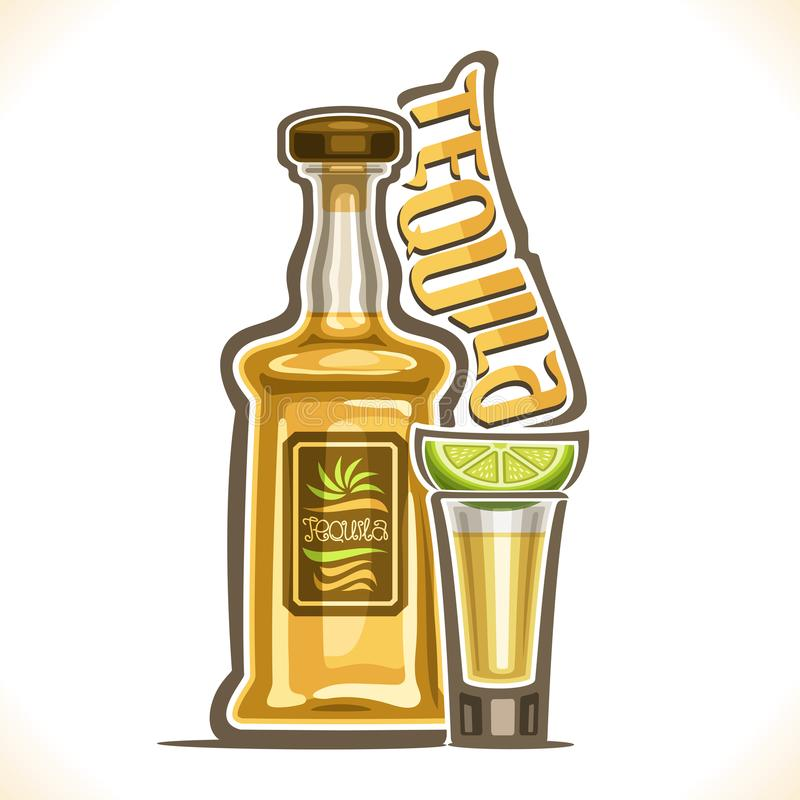 Vector illustration of alcohol drink Tequila. Yellow bottle of luxury mexican cactus booze, full shot glass with slice of citrus, original typeface for word royalty free illustration