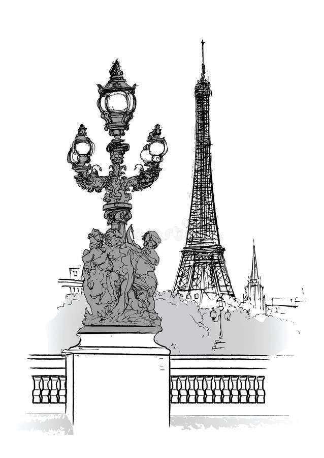 Vector illustration of Alexander bridge in Paris royalty free illustration