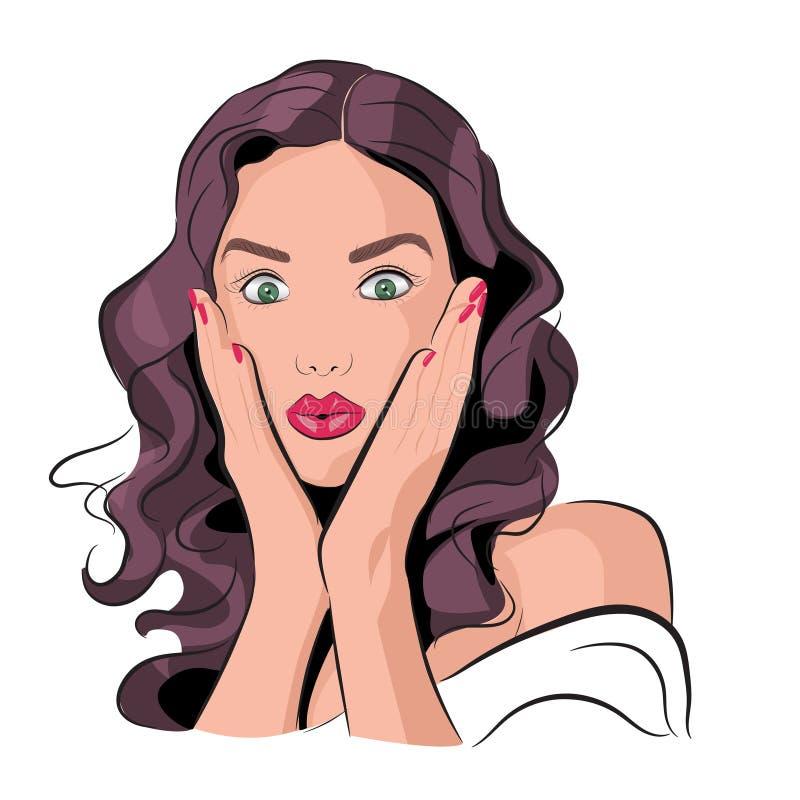 Vector illustration of an amazed woman or girl. stock illustration