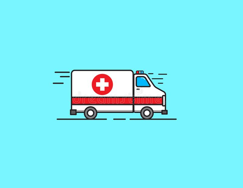 Vector illustration ambulance car. Ambulance auto paramedic emergency stock photos