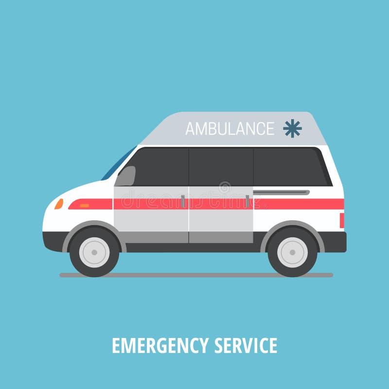 Vector illustration ambulance car. Flat style design royalty free illustration